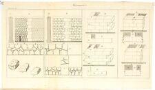 Stampa antica COSTRUZIONI MURATURA muri Maconnerie Pl 6 1814 Old antique print