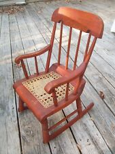 ANTIQUE CHILD'S BOSTON ROCKER CANED SEAT PEGGED EXCELLENT