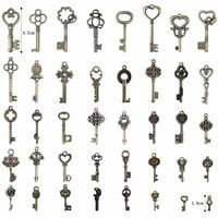 Old Vintage Antique Skeleton 40 Keys Lot Small Large Bulk Necklace Pendant Craft