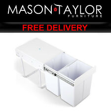 Mason Taylor Kitchen Set of 2 20L Twin Pull Out Bins - White POT-BIN-20L-SET-WH