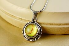 SOFTBALL SMALL snap button pendant W/ steel necklace gifts for girls women