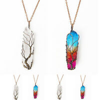 Clear Rainbow Crystal Tree Of Life Chakra Pendant Bronze Wire Wrap Necklace sm
