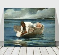 "WINSLOW HOMER - The Water Fan - CANVAS ART PRINT POSTER - Sea Boat - 36x24"""