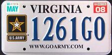 """VIRGINIA """" GO ARMY """" VA Military Specialty Graphic License Plate"""