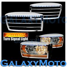06-08 Dodge Ram TRUCK Chrome HeadLight Trim Bezel+White LED+Turn Signal Cover