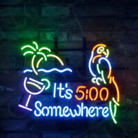 """19""""x15""""It's 5:00 Somewhere Parrot Beer Bar Pub Wall Decor Handmade Real Glass"""