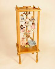 Antique Doll Cabinet Collectible Case Dust Proof Shelves Adjust-Revolves Nib