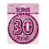 """Pink Glitz 30 Today 6"""" Giant 30th Birthday Badge Party Badges Decorations"""