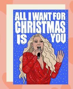 Mariah Carey Christmas Card All I want For Christmas Greeting Card Celebrity