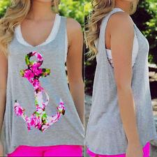 Womens Summer Fashion Anchor Vest Top Sleeveless Blouse Casual Tank Tops T-Shirt