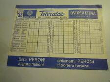 SCHEDINA DEL TOTOCALCIO - CONCORSO 38 - DEL 14.5.72 PERONI - OVOMALTINA  C7-210