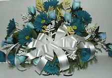 Ovarian Cancer Aqua Teal Blue or Breast Cancer Pink Tombstone Saddle Arrangement