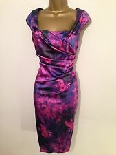 STUNNING COAST ALVA FLORAL SATIN  WIGGLE OCCASION DRESS SIZE 12 £150
