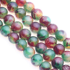 50Pcs Mixed Color Natural Floral Stone Round Beads Jewelery Stone Making DIY 8MM