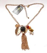 GOLD TONE LUCITE BEADED TASSEL CHAIN BEADS CHARM NECKLACE - COOKIE LEE WITH TAGS