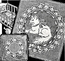 2549 Vintage LW Filet CRIB//CARRIAGE SET Pattern to Crochet Reproduction