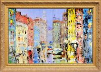 Framed Oil Painting, Signed by Dominic, New York City 5th Ave Scene Landscape