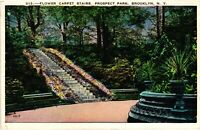 Vintage Postcard - Flower Carpet Stairs Prospect Park Brooklyn New York NY #3478