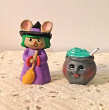 Lot Of 2 Hallmark Merry Miniatures Halloween Mouse Witch W/ Broom-Cauldron 1993