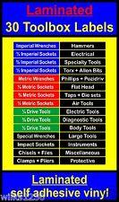 laminated 30 TOOLBOX Chests Labels Craftsman snap on sealey us pro beta draper