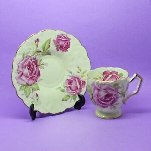 Aynsley Demitasse Cabbage Rose Cup & Saucer Vintage England