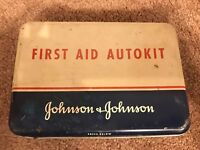 Vintage Johnson & Johnson First Aid Autokit tin (empty) W/1st Aid Guide