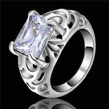 graceful White Sapphire Wedding Band Ring white Rhodium Plated Jewelry Size 7