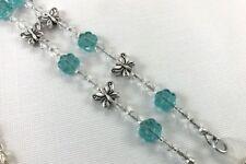 Butterfly Garden Beaded Eyeglass Chain, Aqua Silver Reading Glasses Holder