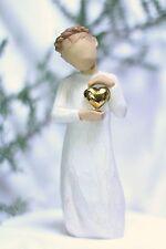 ANGEL statue SOLID GOLD HEART figurine Keepsake Wedding Shower Gift WILLOW TREE