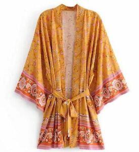 Mustard Yellow Floral Bohemian Kimono Robe