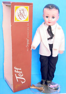 1958 VOGUE JEFF DOLL #6010 BOXED! in NICE WHITE TUXEDO #6181 w HTF FLOWERS & BOW