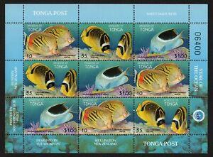 TONGA, SCOTT # 1008, COMPLETE SHEET OF FISH, INTERNATIONAL YEAR OF OCEAN, MNH