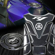 Real Carbon Fiber Customize Fuel Tank Pad+Gas Cap Cover for 00-18 YZFR1/YZFR1S