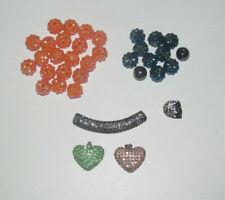 Lot Création Bijoux Style Shamballa Perles Orange Bleu Noir + Pendentif Coeur