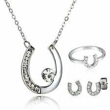 Wedding Horse Shoe U Shape Pendant Necklace Crystal Earrings Ring Jewelry Set
