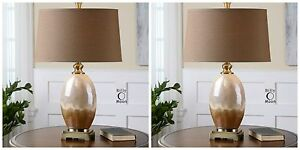 """TWO MODERN 30"""" FIRED IVORY RUST BROWN CERAMIC TABLE LAMPS ANTIQUED GOLD DETAILS"""