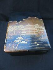 Fine Vintage Japanese Zohiko Golden Pavilion Landscape Lacquer Ware Large Box
