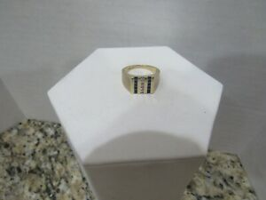 Fabulous Mens 14k Solid Yellow Gold Blue Sapphire and Diamond Band Ring Size 9