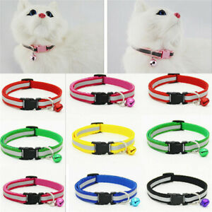 Cat Dog Collar Reflective Breakaway with Bell Colorful Kitten Puppy Pet Supplies