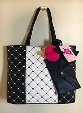 Betsey Johnson Large Quilted Black White Hearts Tote Handbag w/Eye Case NWT $88
