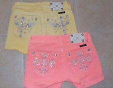 Lot (2) Miss Me little Girls Jeans Size sz 12 Summer Jean Shorts Pink Yellow