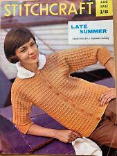 Vintage Stitchcraft Magazine August 1961 Knitting Crochet Ladies Childs Mens
