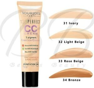 BOURJOIS 123 Perfect CC Cream Foundation Face Skin 24HR Hydration *ALL SHADES*