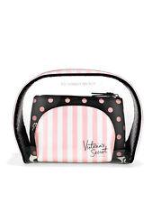 Victoria's Secret Stripes Signature VS Trio SET Cosmetic Make-up Toiletries Bags