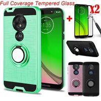 For Motorola Moto G7 Power/Optimo Maxx/G7 Play Case Stand Cover+Screen Protector