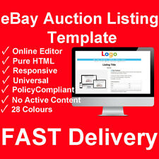 Custom eBay Listing Auction Template HTML Generator Web TagBot Mobile Design