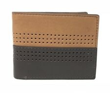 Fossil Cody Bifold Flip ID Wallet RFID Perforated Brown Leather ML3940200