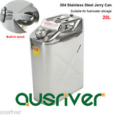 New 304 Stainless Steel Jerry Can 20L Water/Fuel Storage Car 4WD Motorbike Boat