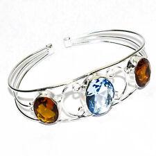Swiss Blue Topaz Gemstone 925 Silver Jewelry Adjustable Cuff