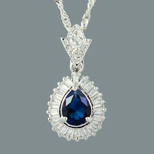 Stunning 18K White Gold Plated Cubic Zirconia Pear Cut Blue Sapphire Pendant